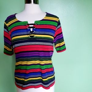 Rafaella Studio Rainbow Stripe 3/4 Sleeve Top